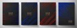 Modern black, blue, red diagonal stripe cover design set. Luxury creative dynamic line pattern. Formal premium vector background for business brochure, poster, notebook, menu template