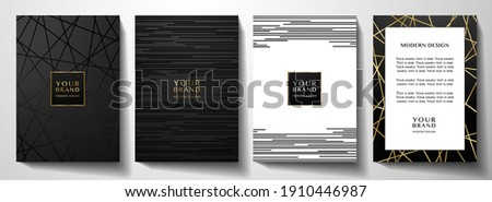 Modern black cover design set. Luxury creative line pattern in premium colors: black, gold and white. Formal vector layout for notebook, business catalog, brochure template, poster