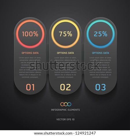 Modern black infographics banner. Vector illustration. can be used for workflow layout, diagram, web design, number options.