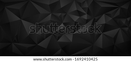 Modern black metal low poly backdrop. Simple dark background with folded or crumpled paper texture. Geometric banner design template with polygonal pattern. Decorative monochrome vector illustration. Сток-фото ©
