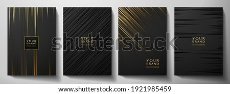 Modern black stripe cover design set. Luxury creative gold dynamic diagonal line pattern. Formal premium vector background for business brochure, poster, notebook, menu template  Сток-фото ©