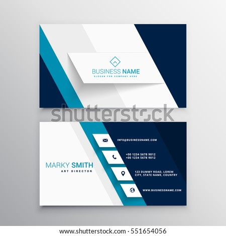 Free blue business card template vector download free vector art premium vectors cheaphphosting
