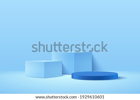Modern blue cube and cylinder podium with light blue empty room background. Abstract vector rendering 3d shape for advertising product display. Pastel minimal scene studio room concept.