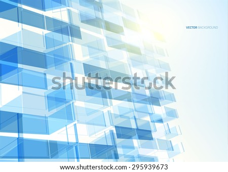modern blue glass wall of
