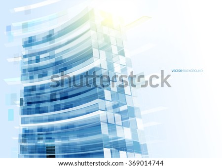 modern blue glass wall of