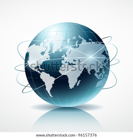 Modern blue globe connection vector illustration