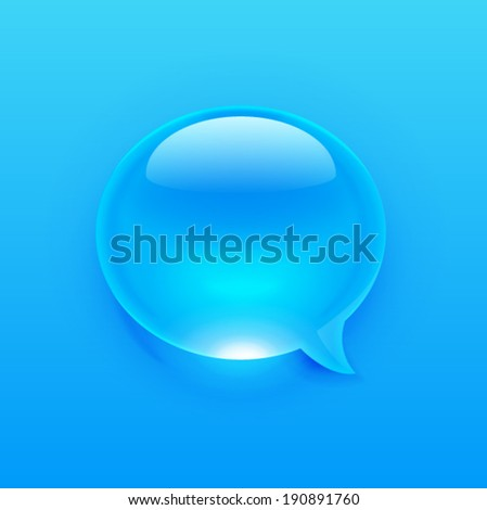 Modern blue message bubble of a drop style. Vector illustration