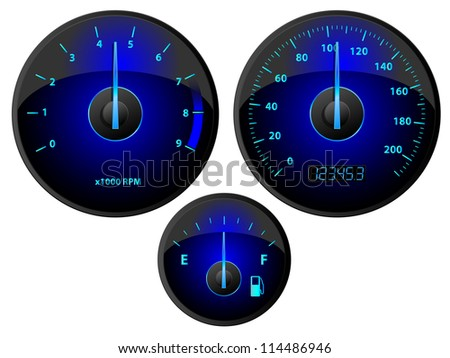 Modern blue speedometer, tachometer and fuel gauge set