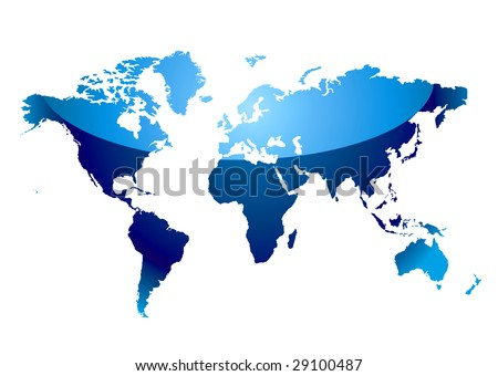 stock vector : Modern blue world map with light reflection and coast outline