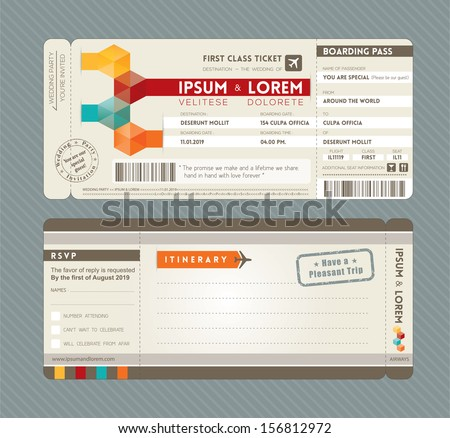 Modern Boarding Pass Ticket Wedding Invitation Graphic Design Vector  Template  Plane Ticket Invitation Template