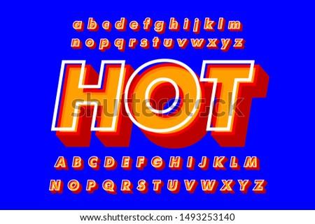 Modern  Bold  3D Font and Alphabet. Vector