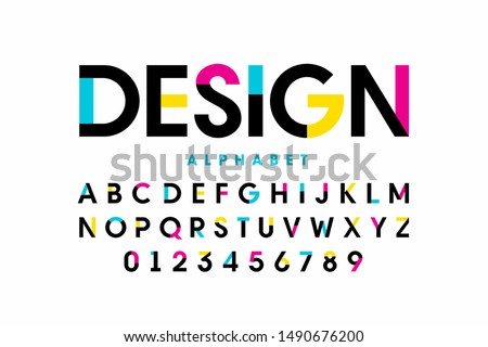 Modern bright colorful font design, alphabet letters and numbers, vector illustration