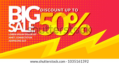 Modern bright vector poster Big sale. Banner for advertising discounts. A template for design of the store