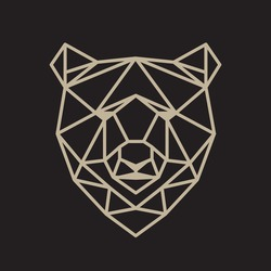 Modern brown bear in polygonal style.Vector geometric illustration. Simple line design.
