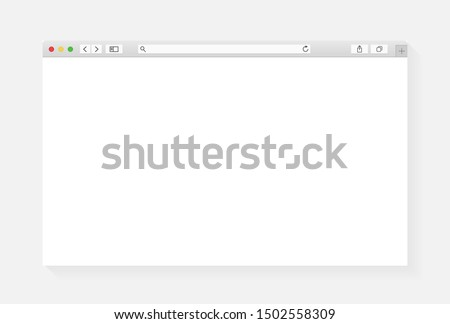 Modern browser window design isolated on white background. Web window screen mockup. Internet empty page concept with shadow. Vector illustration