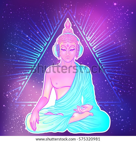 Modern Buddha listening to the music in headphones over colorful neon background. Vector illustration. Vintage psychedelic composition. Indian, Buddhism, trance music. Tattoo, yoga, spirituality.