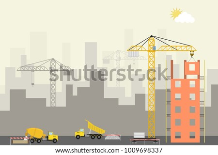 Modern building construction. Construction site with a crane, concrete truck and dump truck. Flat design, vector illustration, vector.