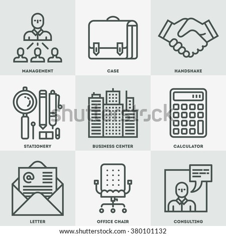 Modern Business and Office Mono Linear Icon Set. Trendy Simple Line Design Art Vector Illustrations.