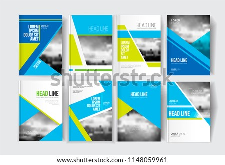 Modern business brochure, banner, page, leaflet, flyer, magazine, cover book template. Abstract colorful background lines, geometrical forms. Cover presentation, layout in A4. Page. Vector set