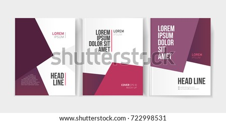 Modern business brochure, banner, page, leaflet, flyer, magazine, cover book template. Abstract violet background lines, geometrical forms. Cover presentation, layout in A4. Page. Vector set