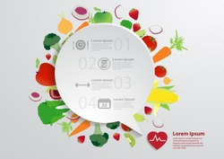 Modern business bubble speech template with fruits and vegetables healthy food icons, Workflow layout, diagram, step up options, Vector illustration modern template design