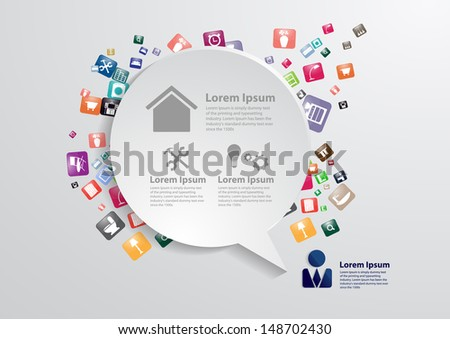 Modern Business Bubble Speech Template With Home Furniture Icons