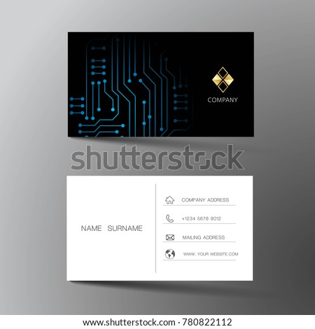 Black business card vector template download free vector art modern business card template design with inspiration from abstract digital circuit contact card for reheart