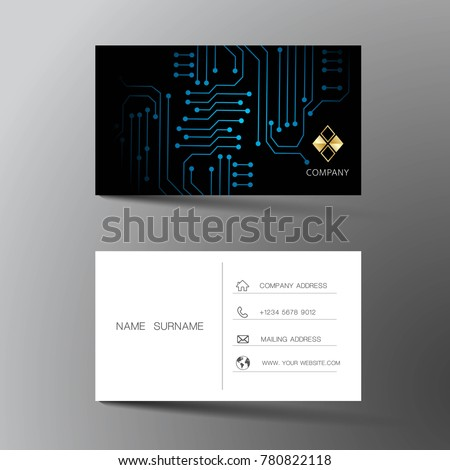Two sided business card vector design download free vector art modern business card template design with inspiration from abstract digital circuit contact card for cheaphphosting Gallery