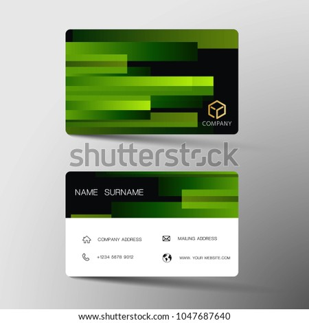 Green and black business card design in simple style download modern business card template design with inspiration from geometric contact card for company reheart Images