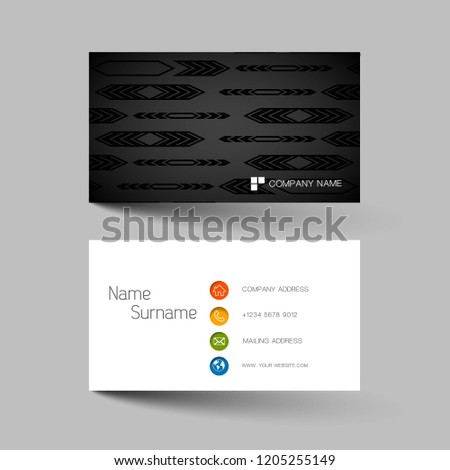 Two sided business card vector design download free vector art modern business card template design with inspiration from the abstract contact card for company wajeb Gallery