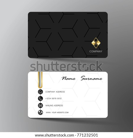 Two sided business card vector design download free vector art modern business card template design with inspiration from the abstract contact card for company reheart Gallery