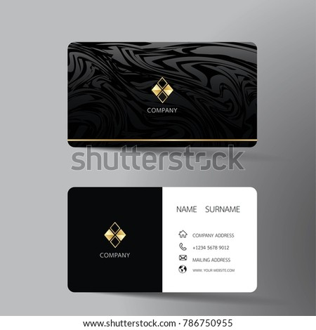 Two sided business card vector design download free vector art modern business card template design with inspiration from the abstract contact card for company reheart Images