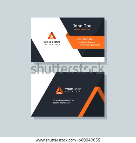Modern business card template orange colors. Flat design vector abstract creative