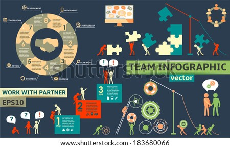 Modern Business Concept Infographic Elements Teamwork partnership