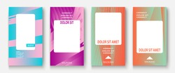 Modern business geometric template covers for design. Phone social media network concept. Promotion poster background. Creative stories set. Abstract vector illustration. Trendy gradient neon colors