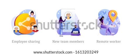 Modern business icons set. Corporate communication, workers recruitment, distance job, Employee sharing, new team members, remote worker metaphors. Vector isolated concept metaphor illustrations