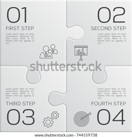 Modern business infographic for your presentation. Four steps to success. Puzzle pieces. Vector.