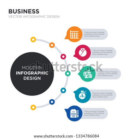 modern business infographic illustration design contains cbi industrial trends, capital account, capital gain, capital gains tax, ratios - tier 1 and tier 2 simple vector icons. set of 5 isolated