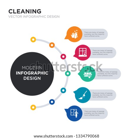 modern business infographic illustration design contains wiping, clean, clean room, clean-living, cleaner simple vector icons. set of 5 isolated filled icons. editable sign and symbols