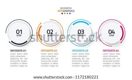 Modern business infographic. Timeline with 4 steps, number options, workflow layout, arrows process line. vector illustration.