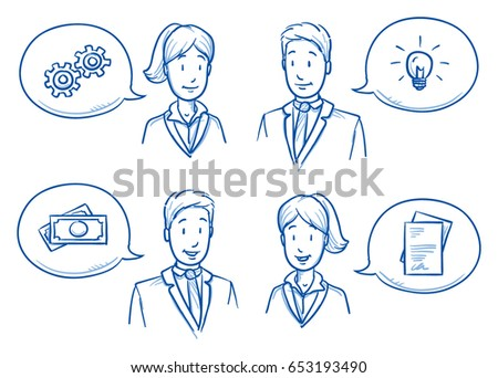 Modern business man and woman looking happy, discussing solutions and ideas with icons in speech bubbles. Hand drawn line art cartoon vector illustration.