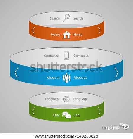 Modern business options banner, rings infographic, can be used for diagram, circle cutout lines, step up options, illustration.