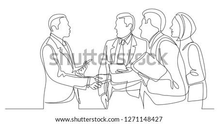modern business people shaking hands after succesful conversation - one line drawing