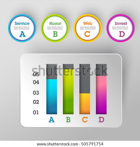 Modern business steps to success charts and graphs banner. Vector illustration modern design template