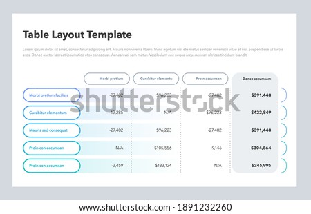 Modern business table layout template with the total sum column and place for your content. Flat design, easy to use for your website or presentation. Stockfoto ©