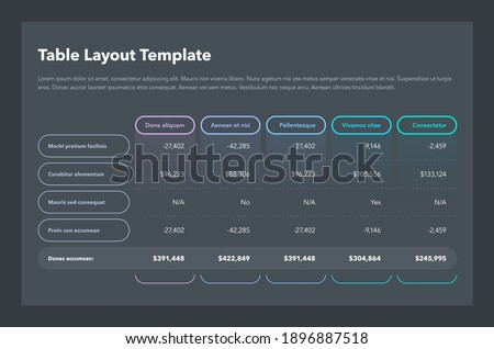 Modern business table layout template with the total sum row and place for your content - dark version. Flat design, easy to use for your website or presentation. ストックフォト ©