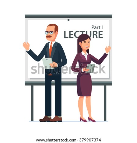 Modern business teachers giving a lecture or presentation. Standing in front of whiteboard with tablet computers in hands. Modern flat style vector illustration isolated on white background.
