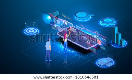 Modern business technologies. Remote connecting, isometric man work with multimedia service. Investments and virtual Finance. Communication and modern marketing.  Vector illustration Stock fotó ©