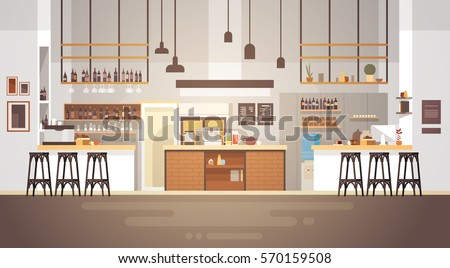 modern cafe interior empty no