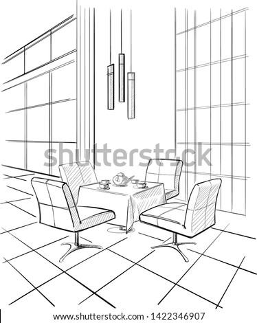 Modern cafe interior sketch. Vector illustration.